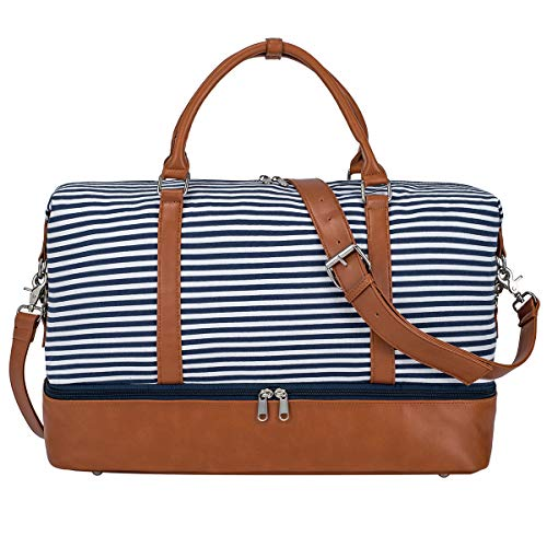 S-ZONE Women Ladies Canvas Weekender Bag Overnight Carry-on Duffel Tote Bag with PU Leather Strap(Blue Strips with Shoe Compartment)