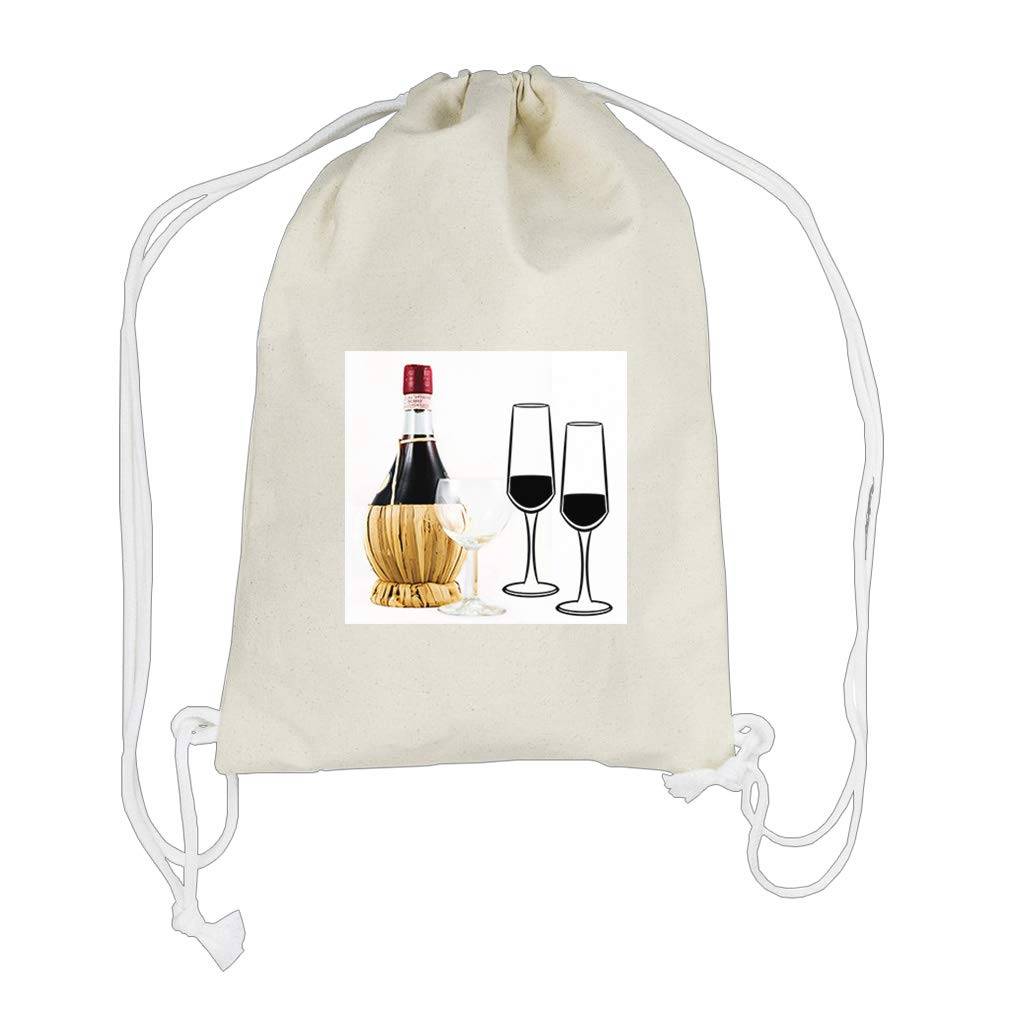 Wine ready to be Served on Wine Glass Cotton Canvas Backpack Drawstring Bag