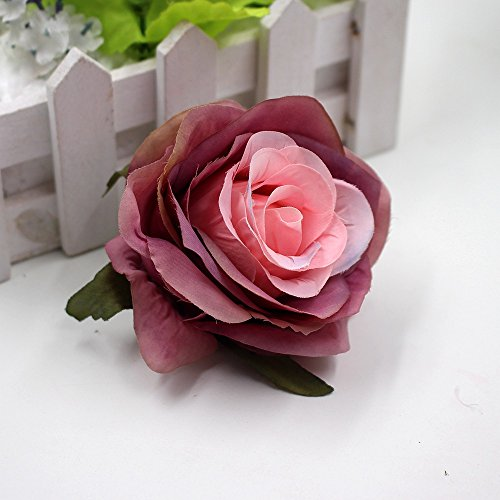 Artificial Flower Fake flowers head centimeters silk blooming rose wedding party home decoration DIY festival Decor shoes dress tire technology 8pcs/lot 8cm (pink) from Artificial Flower