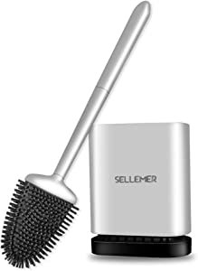 Sellemer Toilet Brush and Holder Set for Bathroom, Flexible Toilet Bowl Brush Head with Silicone Bristles, Compact Size for Storage and Organization, Solid Rust Free Handle, Ventilation Slots Base