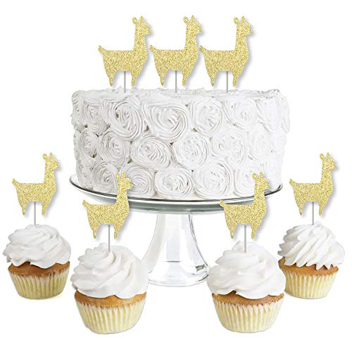 Gold Glitter Llama - No-Mess Real Gold Glitter Dessert Cupcake Toppers - Llama Fiesta Baby Shower or Birthday Party Clear Treat Picks - Set of -