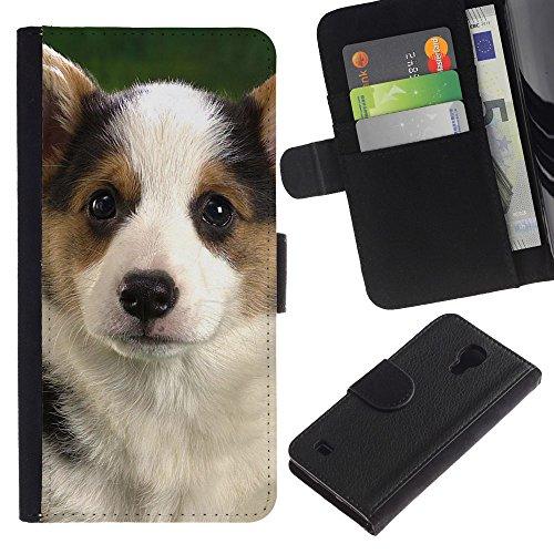 Billetera de Cuero Caso Titular de la tarjeta Carcasa Funda para Samsung Galaxy S4 IV I9500 / Corgi Puppy Pembroke Welsh Dog / STRONG