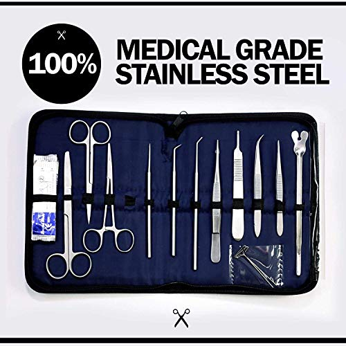 Advanced Frog Dissection Kit for Medical Student - 25 Pcs. - Durable Medical Stainless Steel Tools Included Scalpel Knife Handle Blades with Case ()