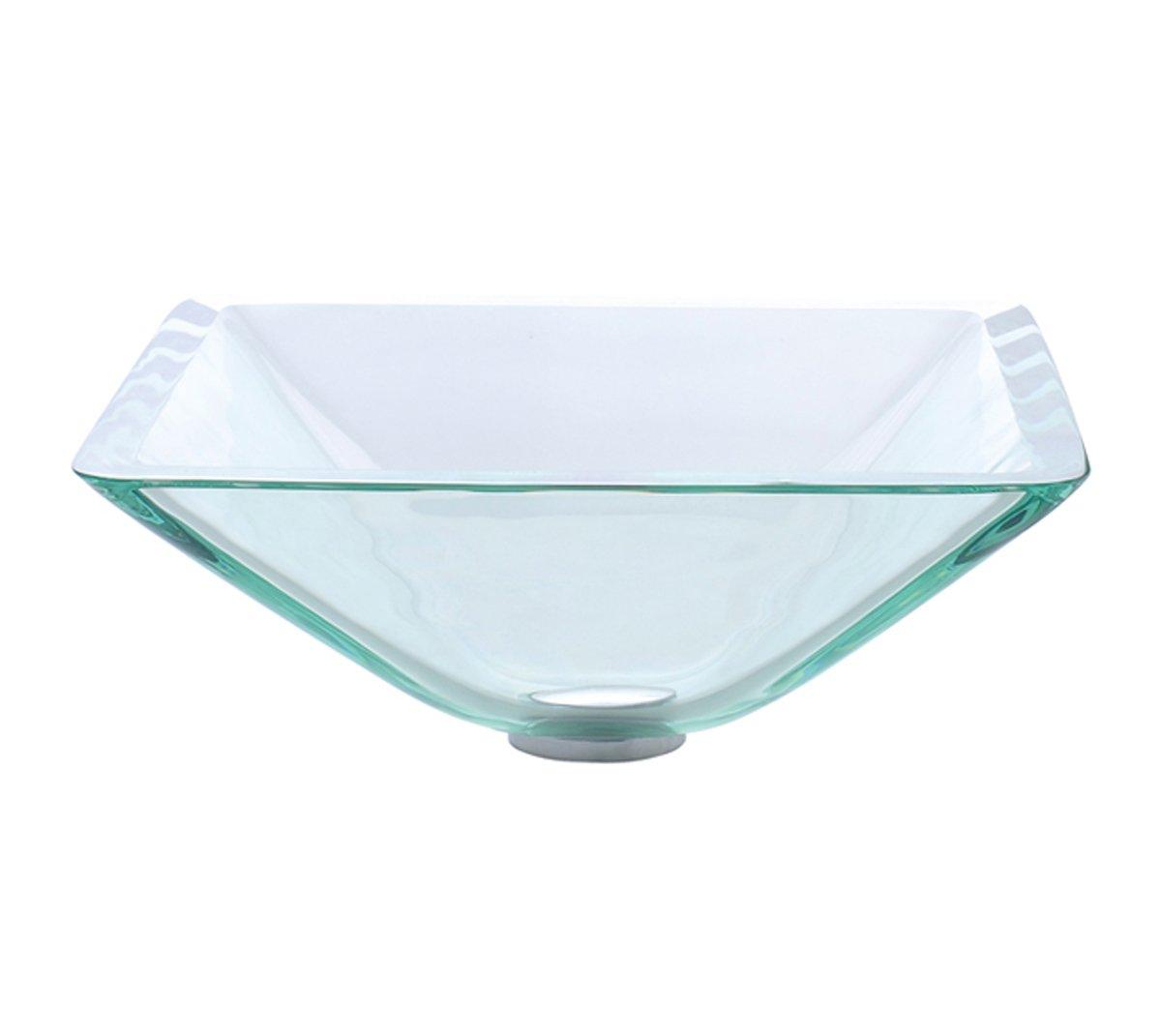 Kraus GVS 901 19mm Aquamarine Square Clear Glass Vessel Bathroom Sink      Amazon.com