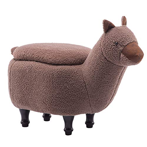 YULAN Children's Stool Cute Animal Stool Alpaca Stool Creative Designer Furniture Cartoon Lamb Footstool Creative Children's Stool (Color : Brown)