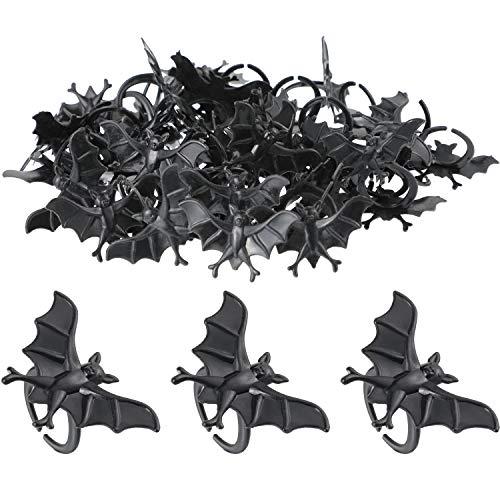 100 Pieces Halloween Bat Rings Black Plastic Bat