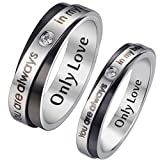 "HooAMI Mens Stainless Steel CZ Couple Ring ""You are always in my heart"" Wedding Engagement Band Size 11 - Free Engraving"