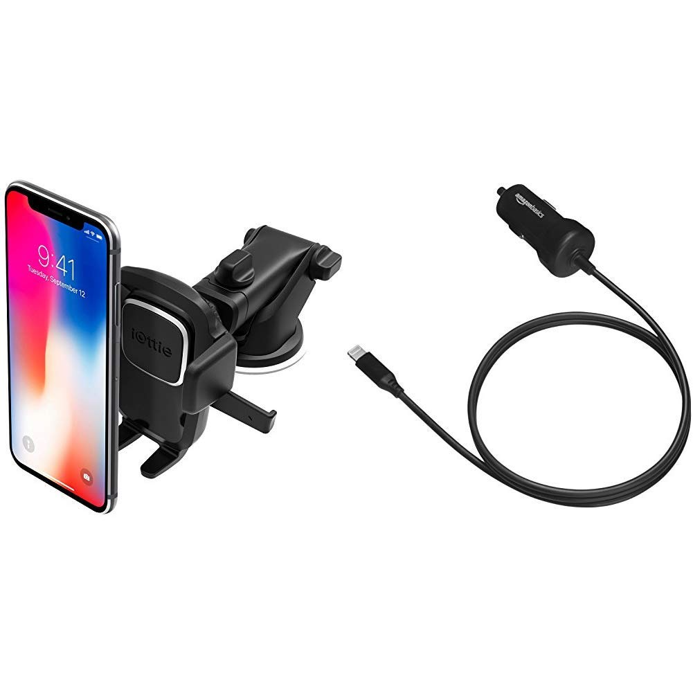 iOttie Easy One Touch 4 Dash & Windshield Car Mount Phone Holder || for iPhone & AmazonBasics Straight Cable Lightning Car Charger, 5V 12W, 3 Foot, Black by iOttie