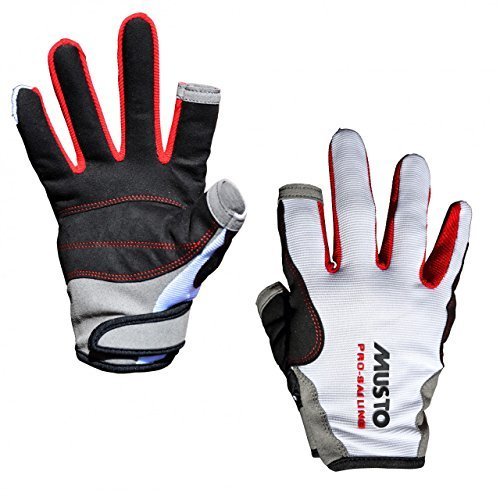 Musto Essential Sailing Long Finger Gloves in White AS0803