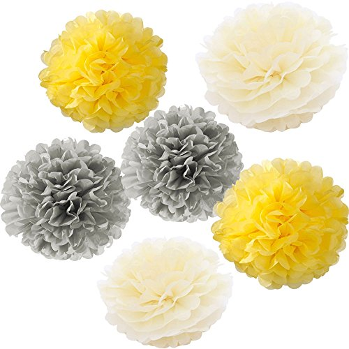 X-Sunshine Outdoor Indoor 18Pcs 10 8 Pom Poms DIY Tissue Paper Flowers Multi-Colors Christmas Wedding Party Room Decor Pom Pom Flowers Pom Poms Craf…