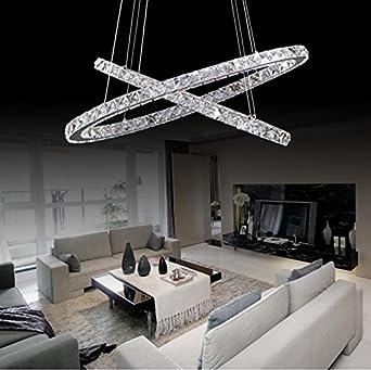 YM Lampe Ellipse Esszimmer Wohnzimmer LED Pendelleuchte Kronleuchter Zwei Ring Edelstahl Kristall Mit Fernbedienung 220