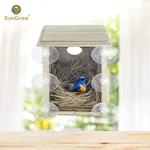 SunGrow SPY Birdhouse - Provides Bird Entertainment in Your Own Backyard - Comfort Area to Rest & Nest - with Holes for Good ()