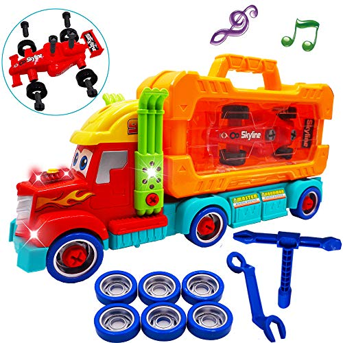 Take Apart Toy for Boys and Girls 3,4,5,6 Year Old-Carrier Truck Toy with Light and Sounds STEM Learning Birthday Gift for Kids Age 3-6 with Tool Box Set and Race Car