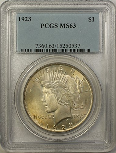 1923 Peace Silver Dollar Coin (ABR13-C) Light Toning $1 MS-63 PCGS