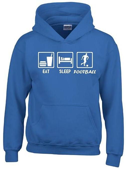 Coole-Fun-T-Shirts EAT Sleep Fussball Kinder Sweatshirt mit Kapuze Hoodie Kids Gr.128-164 cm