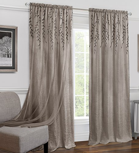 - Ben & Jonah Willow Rod Pocket Window Curtain Panel-42x63-Toffee Collection, Multi