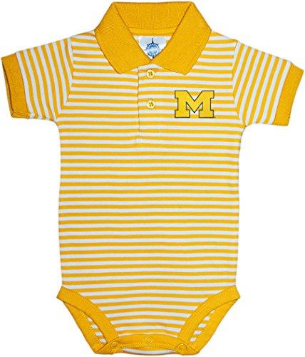 University of Michigan Wolverines Outline Block M Newborn Striped Polo Bodysuit Gold ()