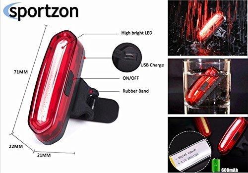 SPORTZON Luce anteriore-posteriore Bicicletta. LED super luminoso - alta qualità - massima resistenza all'acqua - USB ricaricabile