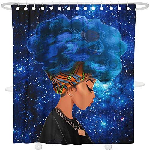 Bonsai Tree Afro Girl Bathroom Shower Curtain Sets, African American Black Girl Cool Bathroom Curtain, Galaxy Space Extra Long Shower Curtain Liner with Hooks, 72x72 Inches