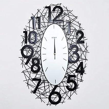 Reloj de Pared Industrial, Arte Hierro Forjado Ovalada estereoscópica Digital de Personalidad de la Moda