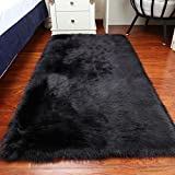 CHITONE Faux Fur Sheepskin Area Rug, Baby Bedroom Rugs Fluffy Rug Home Decorative Shaggy Rectangle Carpet, 2x3 Feet, Black