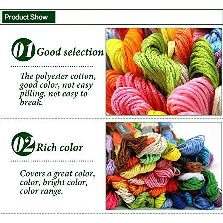 LILI-Homder Cross Stitch Floss 100 Skeins Premium Rainbow Color Embroidery Floss Sewing Threads