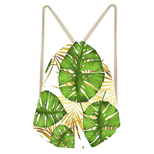 Drawstring Tote Cinch Gym Bags Storage Backpack for Gym Sport Travel Beach - Tropical Haze Green Monstera Leaves And Golden Palm Fronds