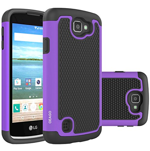 OEAGO LG K4 LTE Case, LG Spree Case, LG Rebel LTE Case Cover Accessories - Shock-Absorption Dual Layer Defender Protective Case Cover For LG K4 LTE/LG Spree / LG Rebel LTE / LG Optimus Zone 3 - Purple