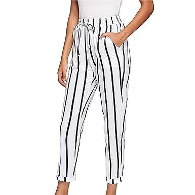46baa98524 FIRERO Women Casual Drawstring Waist Stripe High Waist Tapered Carrot Pants  Trousers at Amazon Women's Clothing store: