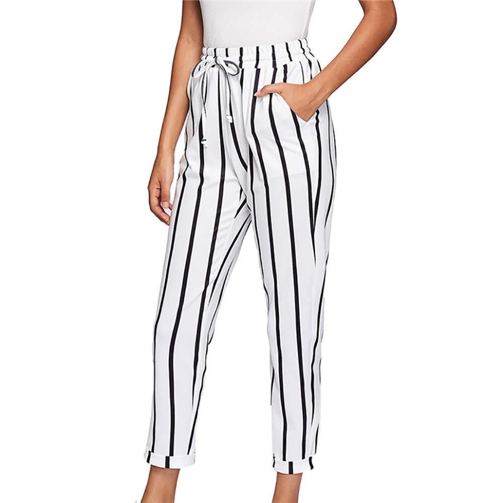 Farjing Pants Clearance Sale Women Casual Drawstring Waist Stripe High Waist Tapered Carrot Pants Trousers(XL,White
