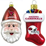 NFL Arizona Cardinals Blown Glass Stocking and Santa Cap Ornament 2-Pack