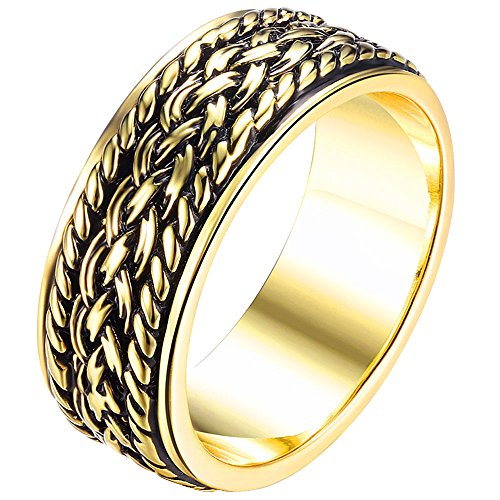 AWLY Men Women Yellow Gold Chain Grooved Design Celtic Knot Eternity Weave Ring Vintage Wedding Band Size (Grooved Ring Design)