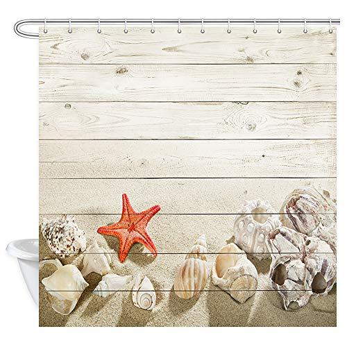 JAWO Beach Themed Shower Curtain for Bathroom,Starfish and Seashells on The Beach with Vintage Wood Background Bathroom Accessories Fabric Bathroom Curtain with Shower Curtain Hooks (Themed Seashell Bathroom)