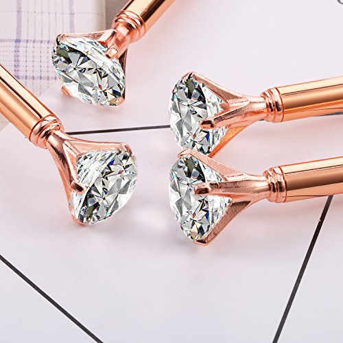 Bememo 12 Pieces Big Diamond Crystal Ballpoint Pens and 6 Pieces Ballpoint Pen Refills, Black Ink (Rose Gold) Photo #6