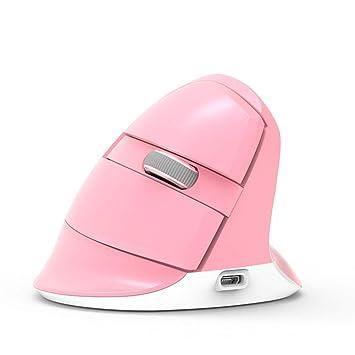 HNMK - Mini ratón inalámbrico 2.4 GHz + Bluetooth 4.0 Recargable 2400 dpi RGB ratón Vertical ergonómico para PC portátil Rosa Rosa: Amazon.es: Electrónica