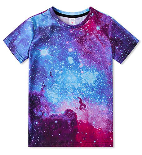 Funnycokid Galaxy T-Shirts Fashion 3D Printed Short Sleeve Shirts School Child Boys Girls Pullover Tees