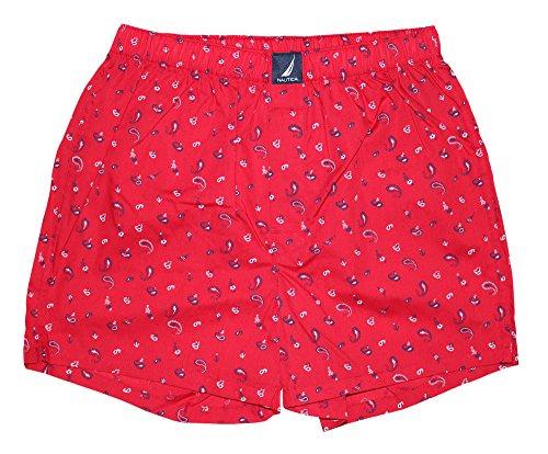 Woven Bandana (Nautica Men's Woven Boxer, Bandana Print/Red, Medium)