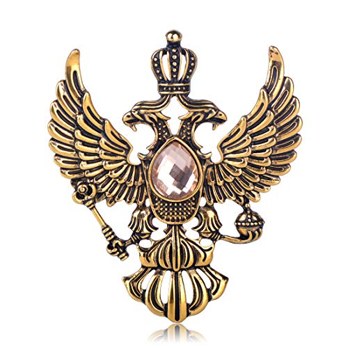 MECHOSEN Vintage Russian National Emblem Shape Brooches Antique Gold Color Rhinestone Brooch Women Men Souvenir Gifts Lapel Pins