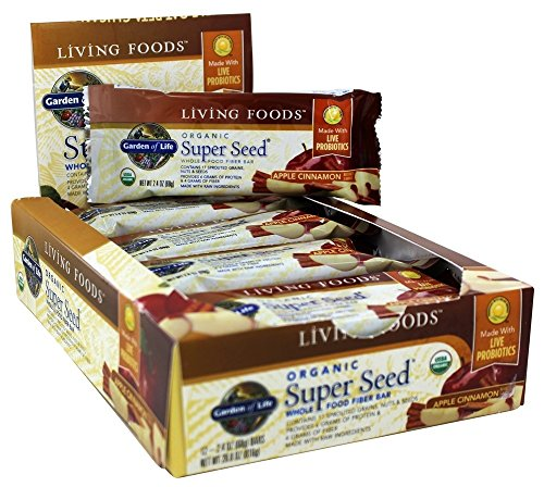 Garden of Life Organic Super Seed Whole Food Fruit and Veggie Bars with Fiber and Probiotics, Vegetarian, 68g bars (12 per carton)