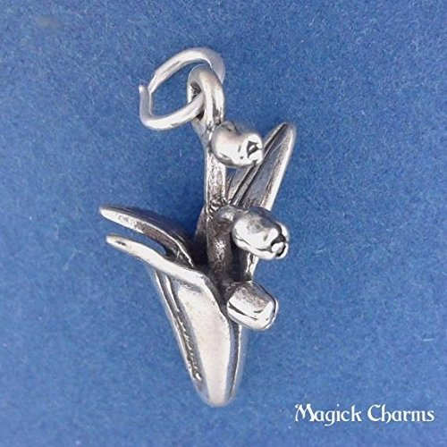 925 Sterling Silver 3-D Lily of The Valley Flower Charm Pendant Jewelry Making Supply, Pendant, Charms, Bracelet, DIY Crafting by Wholesale ()