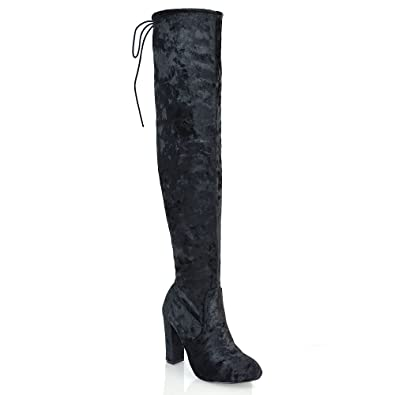 a06307b9f5a ESSEX GLAM Womens Thigh High Block Heel Stretch Black Velvet Over The Knee  Boots 6 B