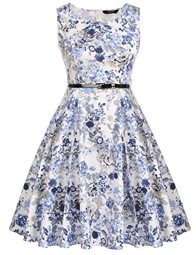 Vintage Flower Floral 1950's ACEVOG With Blue Picnic Garden Dress Party Cocktail Spring Belt Party Dress SpgCwxCnqa