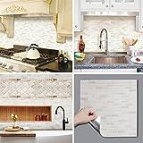 BEAUS TILE Decorative Tile Stickers Peel Stick Backsplash Fire Retardant Tile Sheet (White Brick) (5, 12.2'' x 12.2'')