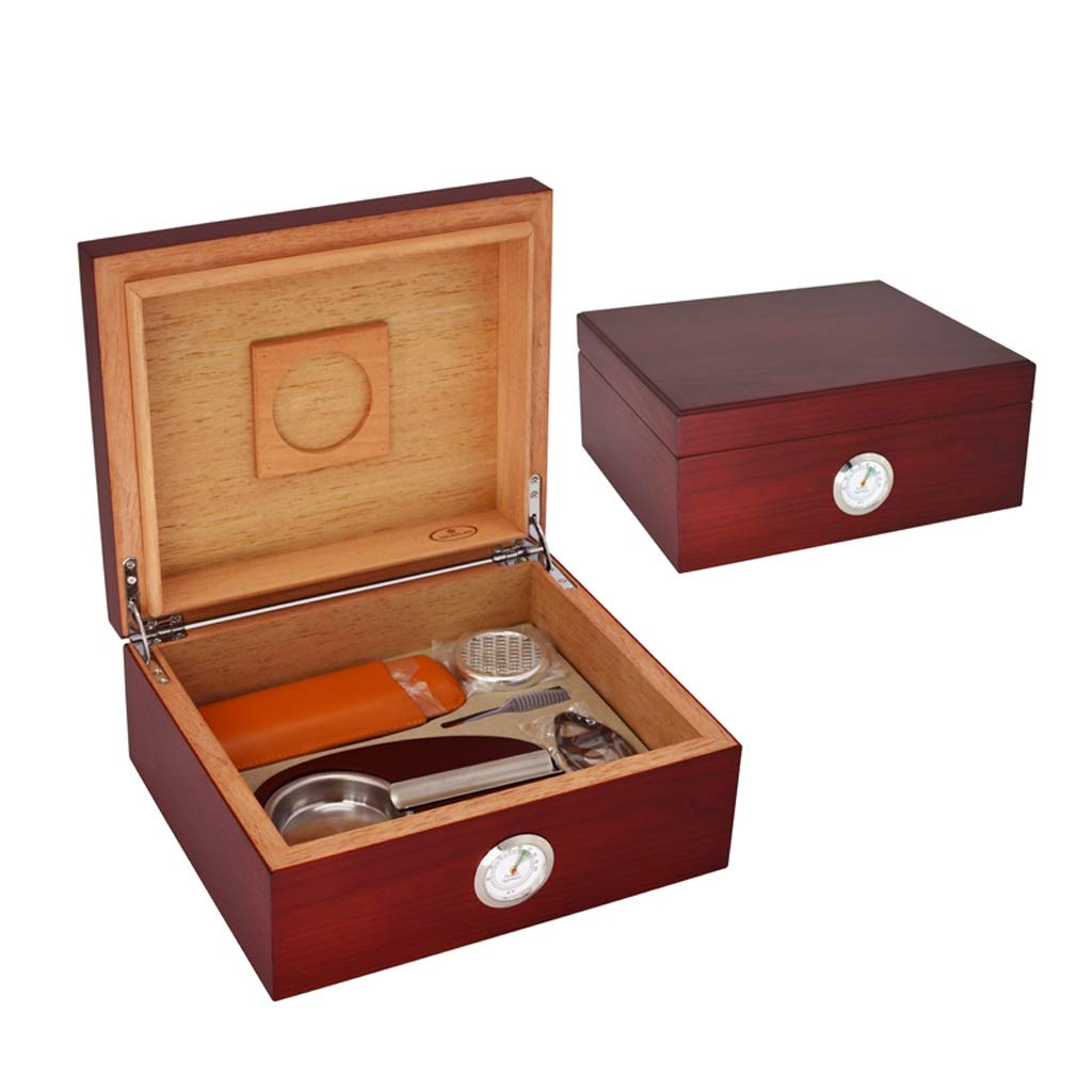 Portable cigar box Cigar Box, with Humidifier and Hygrometer, Cigar Cutter and Ashtray, with Cigar Leather Case, Cigar Cabinet Cigarette Case Set Cedar Wood Lining, Large Capacity For 40 Cigars, Men's by Ac498 (Image #4)