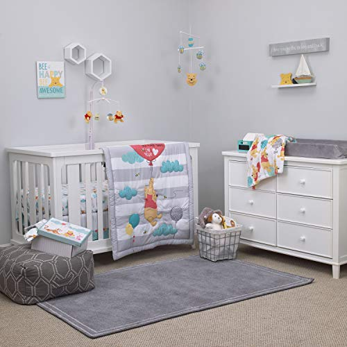 Disney Winnie The Pooh First Best Friend 4 Piece Nursery Crib Bedding Set, Aqua/Grey/White/Red (Bedding Set For Baby Boy Crib)