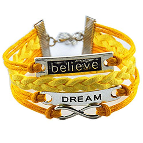 Gift Yellow (Ac Union ACUNION™ Handmade Dream Believe Infinity Tortoise Angel Wings Owl Butterfly Anchor Brids Heart Best Friend Charm Friendship Gift Leather Bracelet (Dream+Believe-Yellow))