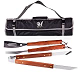 MLB 3-Piece BBQ Tool Set with Carry Tote