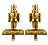 Nutcracker Soldier Christmas Stocking Holders - Set of 2 (Gold)
