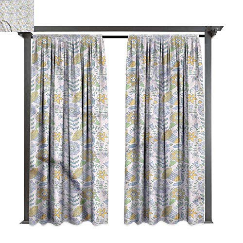 (cobeDecor UV Protectant Indoor Outdoor Curtain Panel Garden Art Doodle Nature Scroll for Lawn & Garden, Water & Wind Proof W72 xL84)