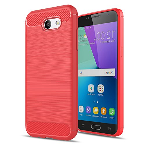 Galaxy J3 Emerge/J3 2017/J3 Mission/J3 Eclipse/J3 Luna Pro/Amp Prime 2/J3 Prime/Express Prime 2 Case,AnoKe Slim Scratch Resistant TPU Thin cases cover For Samsung J3 Emerge HWLS Red